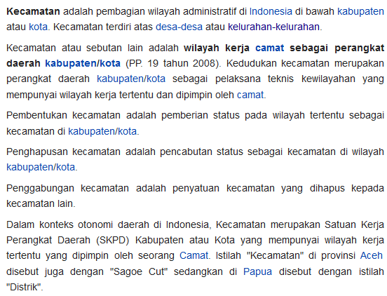 Definisi Kecamatan