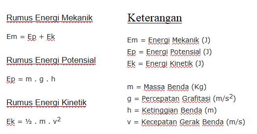 Rumus Energi Mekanik, Potensial dan Kinetik