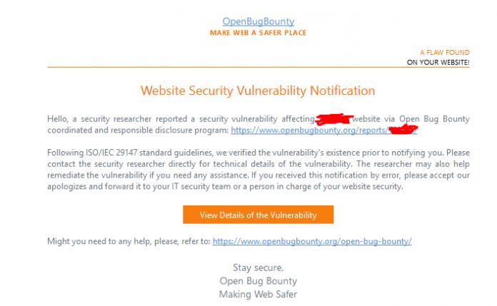 Cara Mengatasi Bug Pada Website dan Blog - Nontifikasi Email OpenBugBounty