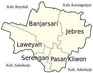 Peta Kecamatan Kota Surakarta