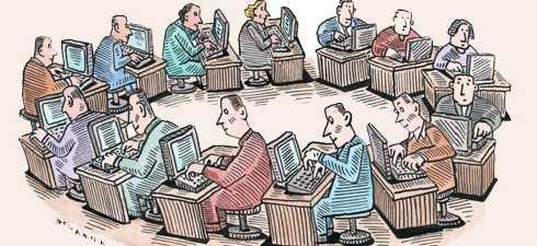 Gambar Ilustrasi Animasi Kartun Pekerja Rutinitas Kantoran