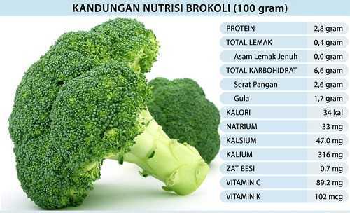 Kandungan nutrisi sayuran brokoli